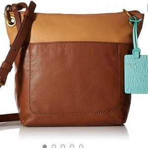 Fossil Keely Brown/Tan Leather Crossbody Bag